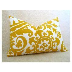 Pillows - Suzani Designer Lumbar Pillow / Sunshine Yellow / by WillaSkyeHome - yellow pillow found on Polyvore