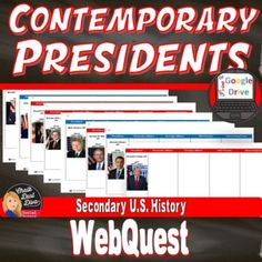 Contemporary Presidents | Web Quest | Print & Digital | DISTANCE LEARNING John F Kennedy, Teaching Strategies, Us History, Creative Teaching, Student Work, Social Studies, Middle School, Distance, Fun Facts