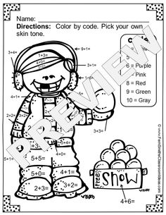 Winter Fun! Basic Addition Facts - Color Your Answers Printables! FIVE printables and FIVE answer keys for basic addition facts with a FUN Winter Theme! These high interest black and white printables are great for seat work, homework or small group work. #TPT $paid