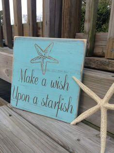 Starfish Make a Wish Sign Coastal Cottage Beach Decor Baby Nursery Decor