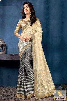 A new creative fashion with grey and beige net party wear saree with best deal online store. It is ready to with line printed design and embroidery on half saree. #partywearsaree, #partysaree, #designerpartysaree, #embroiderysaree, #designersaree, #netpartywearsaree, #discountoffer, #pavitraafashion, #utsavfashion, #printedpartysaree http://www.pavitraa.in/store/party-wear-saree/ callus:+91-7698234040