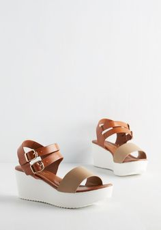 Aperitifs, Ands, or Struts Wedge. Enjoy the beach bar in the upbeat style of these colorblocked wedges! #tan #modcloth