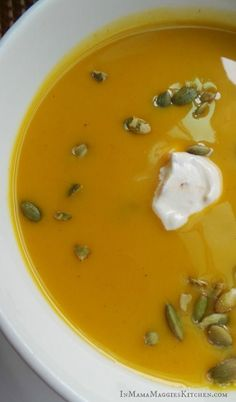 Butternut Squash Soup with Chipotle Sauce. This fall classic dish is elevated to a whole new delicious level. By Mama Maggie's Kitchen