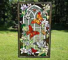 stained glass flower | ... Large Tiffany Style Stained Glass Window Panel Butterfly Flower | eBay