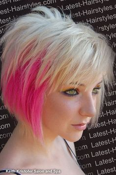 Blonde-and-pink-hair Hair Color Ideas for Short Hair Love Hair, Great Hair, Short Hair Cuts For Women, Short Hair Styles, 30 Hair Color, Hair Colors, Short Punk Hair, Short Blonde, Corte Y Color