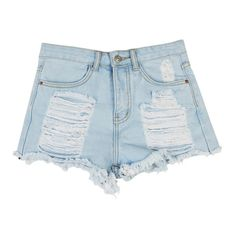 Stylish Mid Waisted Hole Design Bleach Wash Denim Women s Shorts ($15) ❤ liked on Polyvore featuring shorts, bottoms, light blue and light blue shorts
