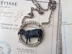 Altered  assembled paste buckle necklace by thejunkdiva on Etsy, $35.00