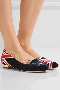 Charlotte Olympia - Kitty Embroidered Velvet Slippers - Midnight blue