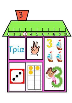 ...Το Νηπιαγωγείο μ' αρέσει πιο πολύ.: Τα σπιτάκια των αριθμών Kindergarten Centers, Math Centers, First Fathers Day Gifts, Math For Kids, Activities For Kids, Homeschool, Clip Art, Classroom, Teaching