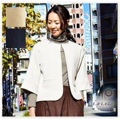【ina イナ】ワイド 5分袖 クルーネック ジャケット (175667) レディース ファッション 秋コーデ 冬コーデ