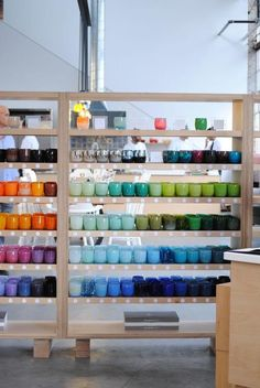 It is like looking through a rainbow. I love the many shades  from mint green & blue to indigo. glassybaby Hot Shop in Berkeley | Remodelista