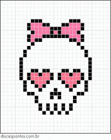 A quick and easy skull cross stitch chart for girls Beaded Cross Stitch, Cross Stitch Embroidery, Cross Stitch Patterns, Cross Stitch Skull, Hama Beads Patterns, Beading Patterns, Pixel Art Halloween, Art Adventure Time, Modele Pixel Art