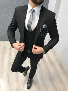 Product: Slim-Fit Vest Suit Color Code: Black Size: Suit Material: wool, viscone, poly, elast Machine Washable: No Fitting: Slim-fit Package Include: Coat, Vest and Pants Only All Black Mens Fashion, Indian Men Fashion, Mens Fashion Suits, Men's Fashion, Classic Fashion, Engagement Suits, Designer Suits For Men, Slim Fit Suits, Wedding Suits
