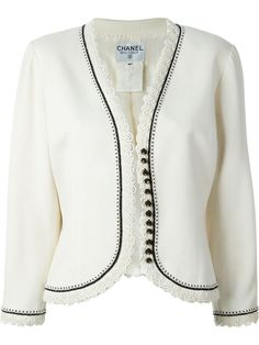 Chanel Pre-Owned Passementerie Jacket Vintage Chanel, Casual Outfits, Fashion Outfits, Womens Fashion, Chanel Dress, Chanel Chanel, Collarless Jacket, Passementerie, Embroidered Jacket