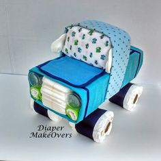 Truck Diaper Cake - Baby Boy Unique Diaper Cake - Blue Truck - Baby Shower Gift or Centerpiece