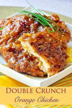 This very inviting crispy orange chicken recipe is… Double Crunch Orange Chicken. This very inviting crispy orange chicken recipe is an outstanding variation of our Double Crunch Honey Garlic Chicken recipe. Crispy Orange Chicken Recipes, Garlic Chicken Recipes, Honey Garlic Chicken, Breaded Chicken, Crispy Chicken, Recipe Chicken, Butter Chicken, Healthy Chicken, Thai Bbq Chicken