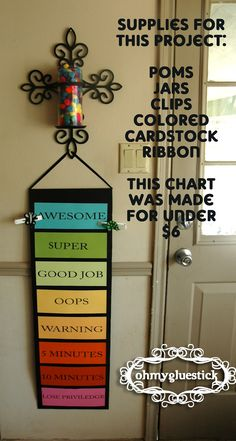 Going to make one for home! Behavior Chart: Begin at Good Job every day. The clips are moved up and down based on certain requirements. If a child is on any green space at the end of the day they get 5 pom poms in their jar. When the jar is full the child Kids And Parenting, Parenting Hacks, Parenting Styles, Kids Behavior, Behavior System, Behavior Plans, Reward System, Behavior Consequences, Behavior Rewards
