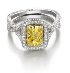 I love love LOVE this one!!! I've always wanted a yellow stone   Fancy Yellow Diamond Ring, such a strong beautiful color