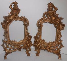 Antique Art Noveau Gold Gilt Cast Iron Picture Frames Beatrice Nude Cherubs #ArtNouveau #Beatrice