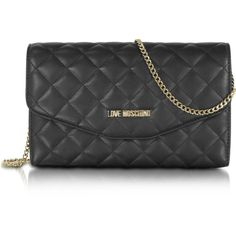 Love Moschino Handbags Evening Quilted Eco Leather Crossbody Bag ($115) ❤ liked on Polyvore featuring bags, handbags, shoulder bags, black, shoulder handbags, quilted shoulder bag, man bag, purse crossbody and cross-body handbag