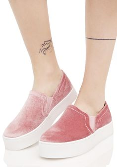 Rebelle Velvet Sneakers cuz yer a riot wrapped up in pretty packaging, bb~ These luxxx slip-ons feature a plush pink velvet construction, elasticized sides for an easy step-in fit, and thick white platform soles.