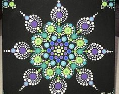 6 x 6 One-of-a-Kind Hand-Painted Dot Mandala on Canvas