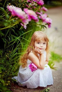 Girl and pink flowers
