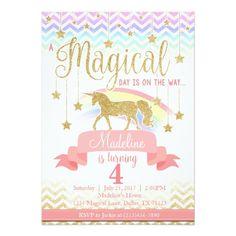 Magical Rainbow Unicorn Birthday Party Invitation
