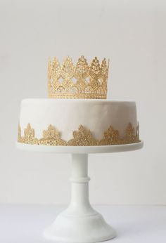 Small Windsor cake topper Tall Lace crown by MyPaperRomance More