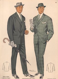 Gray Flannel Suits: In the men began to move away from the Edwardian style and began using suits with less padding in the shoulders and the silhouette became more narrow. Gray became a popular color in suits as opposed to black or blue. 1950 Style, Diesel Punk, Retro Fashion, Vintage Fashion, Mens Fashion, 1950s Fashion Menswear, Formal Fashion, 50 Fashion, French Fashion