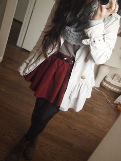 Skater skirt, bomber jacket, tights, scarf! Love this look:)