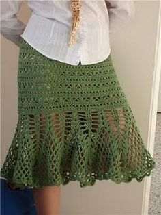 Crochet Dress Patterns - Beautiful Crochet Patterns and Knitting Patterns Crochet Skirt Pattern, Crochet Skirts, Knit Skirt, Crochet Clothes, Crochet Patterns, Crochet Diagram, Skirt Patterns, Beau Crochet, Crochet Mignon