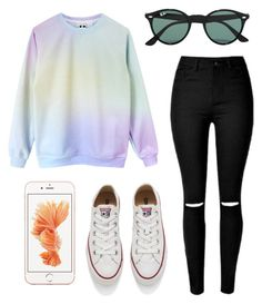 """#No name"" by eemaj ❤ liked on Polyvore featuring Converse, Ray-Ban, women's clothing, women, female, woman, misses and juniors"