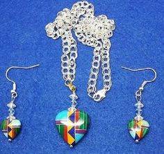 Zuni Inlayed Heart Necklace and Earring set on 20 inch chain, handmade