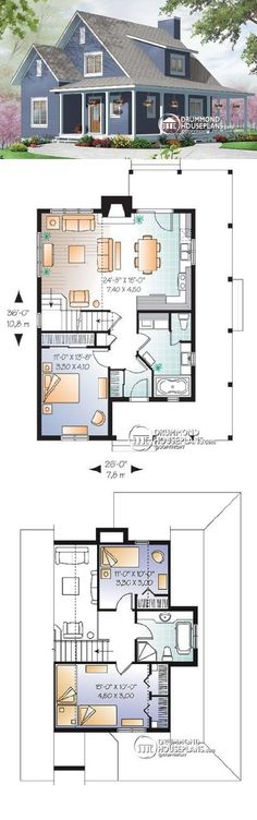 Drummond House Plans #W3518 Hickory Lane :: 1370 sq. ft.