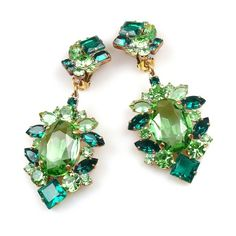 Sweet Temptation Earrings with Clips ~ Green. Huge multicolor spectacular clips-on earrings, large green round rhinestones. $24.90