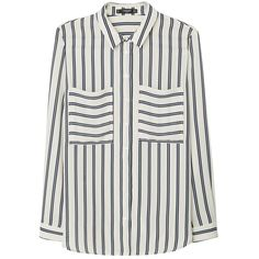 Mango Pocket Striped Shirt , Light Beige found on Polyvore featuring tops, shirts, blouses, light beige, long sleeve stripe shirt, stripe shirt, striped sleeve shirt, collared shirt and striped top