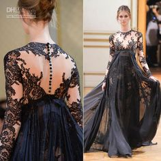 Wholesale Long Sleeve Prom Dresses - Buy Hot Collection Black Zuhair Muzad 2013 Evening Dresses Crew Long Sleeves Lace Chiffon A-Line Floor Length Prom Party Dress, $131.87 | DHgate