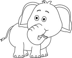 cute elephant clip art black and white baking elephant imageselephant looking behind black white png (500×404)