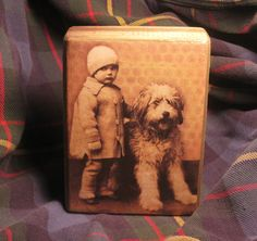 Cute Lil' Shelf Sitter - Girl and Old English Sheepdog - decoupaged wood block with altered vintage postcard print via Etsy.