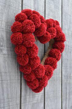 Valentine's Day Red Pom Pom Wreath, Red Heart Wreath, Pom Pom Wreath, Contemporary Wreath – The Best One Valentine's Day Valentine Day Wreaths, Valentines Day Decorations, Valentine Day Crafts, Holiday Crafts, Printable Valentine, Homemade Valentines, Valentine Box, Valentine Ideas, Spring Crafts