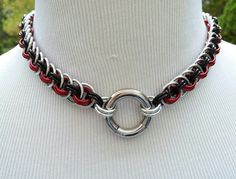 BDSM Slave Collar, Vipera Basket Chainmaille Submissive O Ring Collar, Silver, Black and Red with Stainless Steel Segment Ring, 24/7 WEAR by TheCagedFlower on Etsy