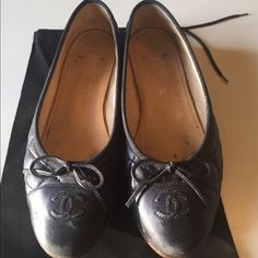 🎉🎊 Host Pick🎉🎊Chanel quilted navy blue flats. Comes with box and 2 dustbags. Pre-owned.  These are a size 38 and would fit a 7 or 7.5. CHANEL Shoes Flats & Loafers