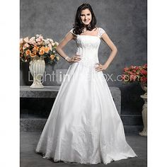 [EUR € 148.49] Princess Floor-length Satin Wedding Dress With Beaded Appliques