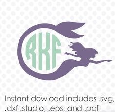 Instant download mermaid monogram frame ( zipped .eps .pdf .dxf .svg and .studio files) vector cutting files by designaroos on Etsy https://www.etsy.com/listing/223373270/instant-download-mermaid-monogram-frame
