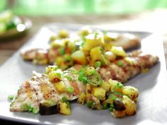 Grilled Pink Snapper with Caramelized Pineapple-Green Onion Butter and Relish from FoodNetwork.com