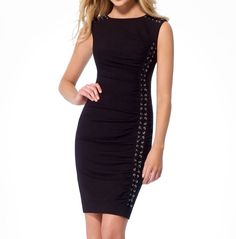 NWT CACHE SEXY Black Lace Up Dress Office to Evening Cocktail Party    M   L  #CACHE #StretchBodycon #Cocktail