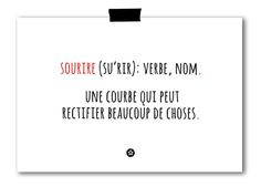 """Définition d'un sourire"" Card in French by lifeonmars*  Available at www.etsy.com/shop/lifeonmarsdesign"