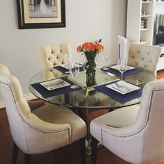 @gailcleland's dining room gets an elegant upgrade with our Borghese Mirrored Dining Table and Marseilles Chairs.