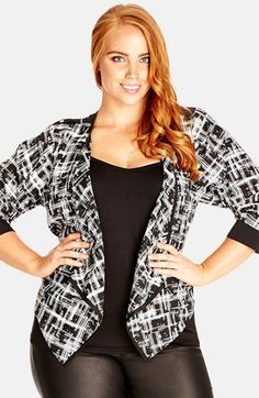City Chic 'Mono Scratch' Print Drape Jacket (Plus Size) available at #Nordstrom
